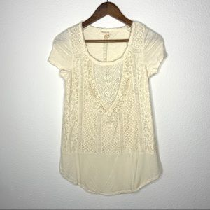 3/$30 Anthro meadow rue cream eyelet blouse